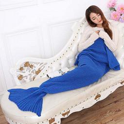 195 * 95cm Sofa Beach Quilt Rug Knit Blanket Mermaid Tail - Blue