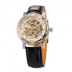 Mens Skeleton Transparent Mechanical Leather Sport Wrist Watch - Gold