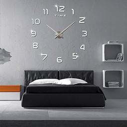 Numbers DIY Frameless Quartz 3D Big Mirror Surface Effect Wall Clock - Silver