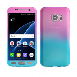 Full Coverage PC Hard Cover with Tempered Glass Screen Protector for Samsung S7 Edge - Blue + Rose Red