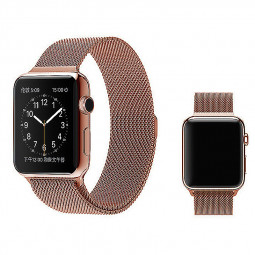 38mm Mesh Smooth Metal Strap Wrist Band Replacement Bracelet for Iwatch - Rose Gold