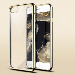 Crystal Shockproof Clear Soft TPU Gel Back Cover Case for iPhone 7 Plus - Gold