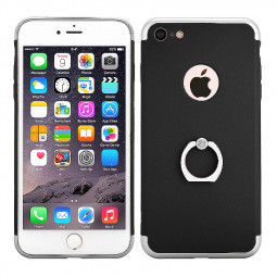 3 in 1 Frosted Plating Phone Back Cover with Holder for iPhone 7 - Black