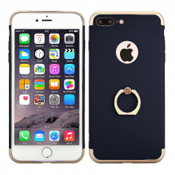 3 in 1 Frosted Plating Phone Back Cover with Holder for iPhone 7 Plus - Dark Blue