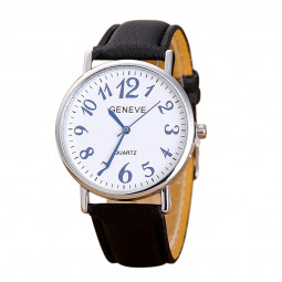 Roman Digital Leather Strap Quartz Business Casual Watch - Black