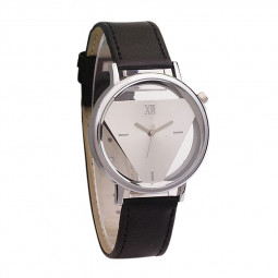 Fashion Simple Inverted Triangle Double Sided Hollow Casual Couple Watch - Black + White