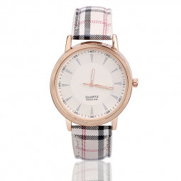 Fashion Plaid PU Leather Watchband Grid Design Casual Quartz Watch - White