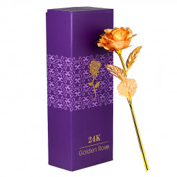 24K Gold Foil Plated Romantic Valentine's Day Rose Flower Gift with Box - Gold