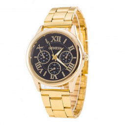 Roman Numerals Gold Plated Stainless Steel Band Business Quartz Watch - Black