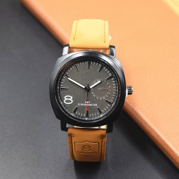 Men's Frosted Dial PU Leather Strap Casual Sports Quartz Watch - Black