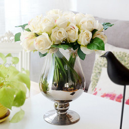 25 *16cm Artificial Rose Flowers Fake Floral for Valentines Wedding - White
