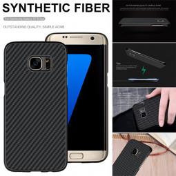 Carbon Fiber Phone Cover Shell Case for Samsung S7 Edge - Black