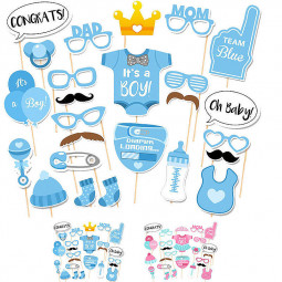 25 pcs Blue Shower Party Boy Birthday Mask Photo Booth Props