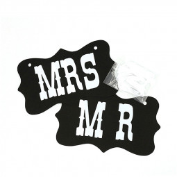 Mr and Mrs Photo Props Chair Signs Banner Wedding Decorations
