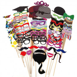 76pcs DIY Mask Photo Booth Props Mustache Wedding Birthday Party Decorations