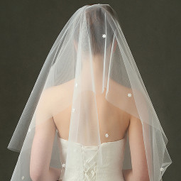 Luxury Beige Elbow Length Graceful Wedding Bridal Veil