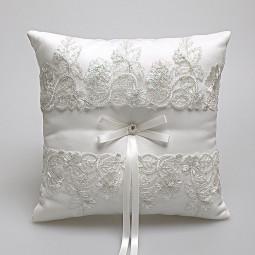 Elegant European Satin Square Lace Ring Pillow with Ribbon Bow