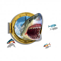 3D Shark Swim in Submarine Window Bedroom Art Wall Sticker