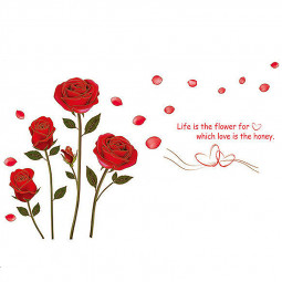 Romantic Red Rose Wall Sticker Home Decal Wedding Decoration