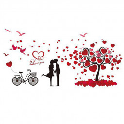 Romantic Love Tree Bicycle Wall Sticker Home Decor