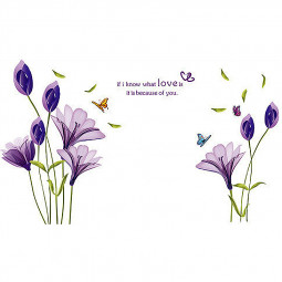 Home Decor PVC Removable Romantic Purple Lily Flower Wall Sticker