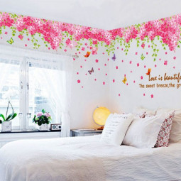 Romantic Pink Cherry Blossom Removable Home Decal Wall Sticker