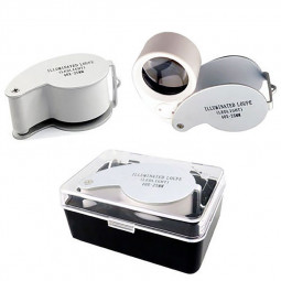 LED Jeweller Loupe 40 x 25mm Eye Lens Glass Jewelry Magnifier - Silver