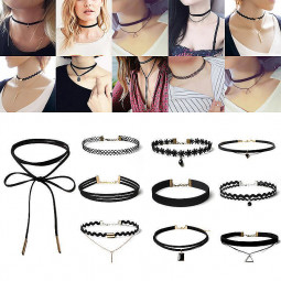 10Pcs Set Women Velvet Lace Choker Gothic Punk Tattoo Necklaces Bead Pendant