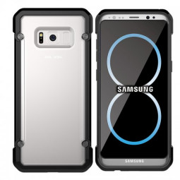 Soft Gel Bumper Clear Back Hard Cover Bumper Case for Samsung S8 Plus - Black