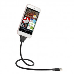 Flexible Type C Data Charging Cable Hose Holder Dock Stand for Samsung - Black