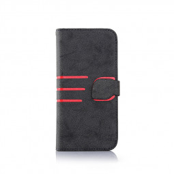 iPhone PU Leather Case Cover Magnetic Book Flip Wallet Card Case for 7 Plus - Black