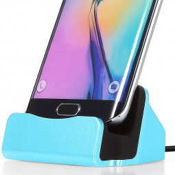 Micro USB Docking Station Sync Data Charging Stand Cradle for Samsung Sony - Blue
