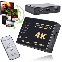 3D HDMI 5 Port to 1 Switcher Selector 4K Switch Splitter for HDTV
