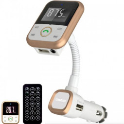 Wireless Bluetooth MP3 Player Car Charger with FM Transmitter - Gold