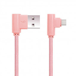 1M USB-C Data Sync 90 Degree Right Angle Type-c Cable Charger - Rose Gold