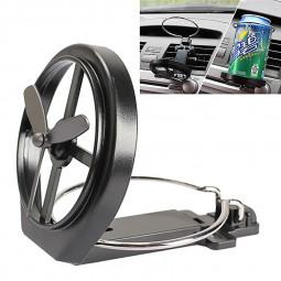 Car Fan Vehicle Air-Outlet Folding Mount Drink Liquid Bottle Cup Holder - Black