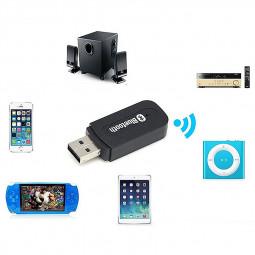 USB Wireless Bluetooth 3.5mm Music Audio Handsfree Receiver Adapter - Black