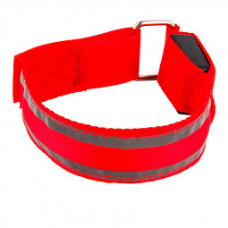 Sports LED Light Up Arm Band Night Safety Reflective Strap Armband - Red