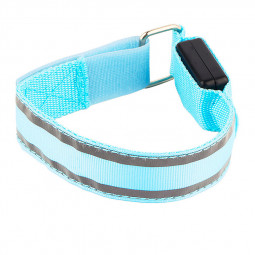 Sports LED Light Up Arm Band Night Safety Reflective Strap Armband - Blue