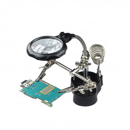 Adjustable Hand Clip Stand LED 3.5X 12X Magnifying Glass Magnifier