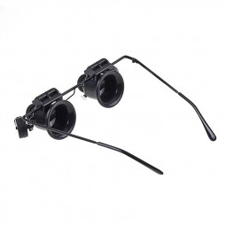 20X Magnifying Glass Eye Jewelry Watch Repair Magnifier Glasses with 2 LED Lights