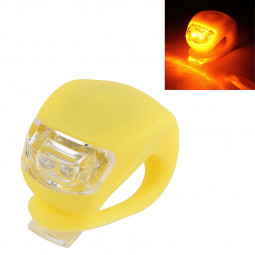 LED Silicone Mountain Bike Bicycle Front Rear Lights Cycle Clip Light - Yellow