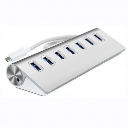 Portable Aluminum 7 Ports USB 3.1 Type-C to USB 3.0 Hub Adapter for Macbook