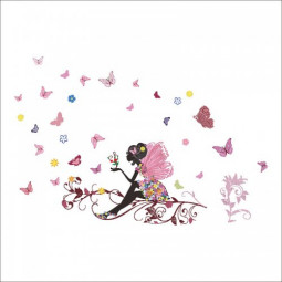 Home Bedroom Princess Butterfly Girl Wall Sticker Living Room Decor