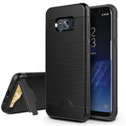 Multi Function Slot Card Brushed Phone Cover Case with Desk Stand for Samsung S8 Plus - Black
