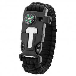 Outdoors Survival Bracelet 5 in 1 Whistle Flint Scraper Striker Compass Wristband - Black