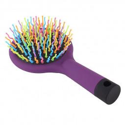 Rainbow Volume Anti-static Magic Hair Curl Massage Comb With Mirror - Purple