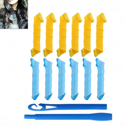 12PCS Magic Circle Twist Rollers Spiral DIY Hair Curlers Styling Tools Curler Assorted Colour - Model F