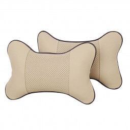 Car Seat Neck Pillow PU Leather Hole-digging Breathable Car Headrest Neck Supporter - Beige