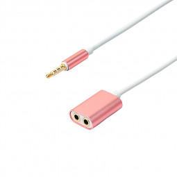 3.5mm Audio Stereo Y Splitter Cable Male to Female Headphone Splitter Adapter Cable - Rose Gold